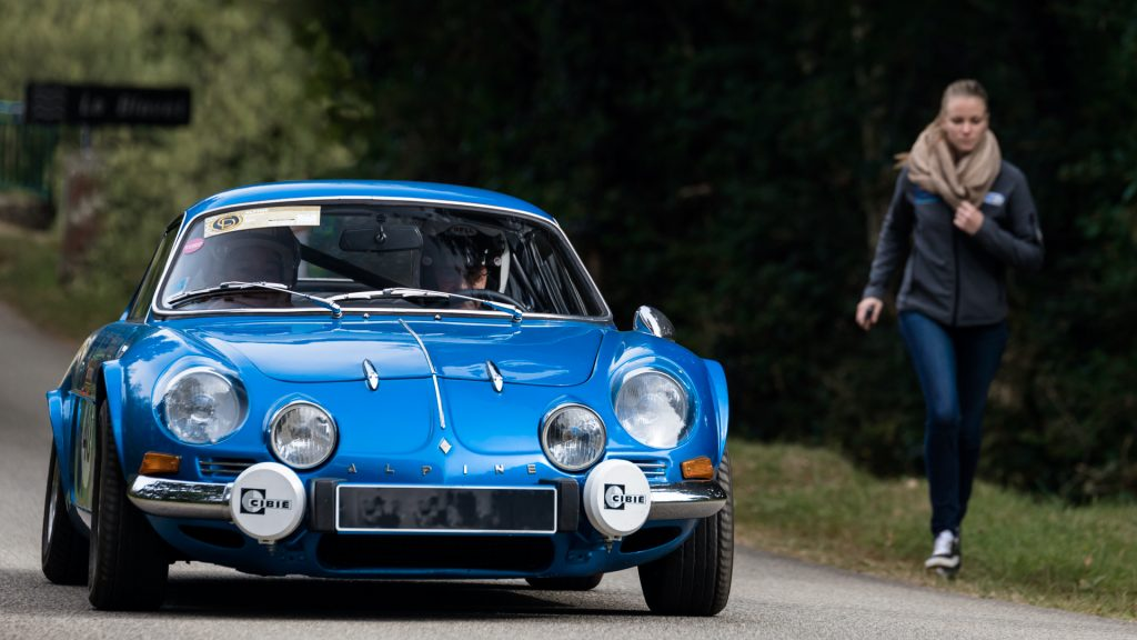 Alpine A110 in the woods